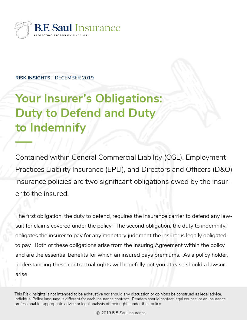 Risk Insight - Duty to Defend Cover