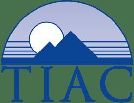 TIAC Mountains and Text Logo - Trajan - Outline - Medium Dark Blue