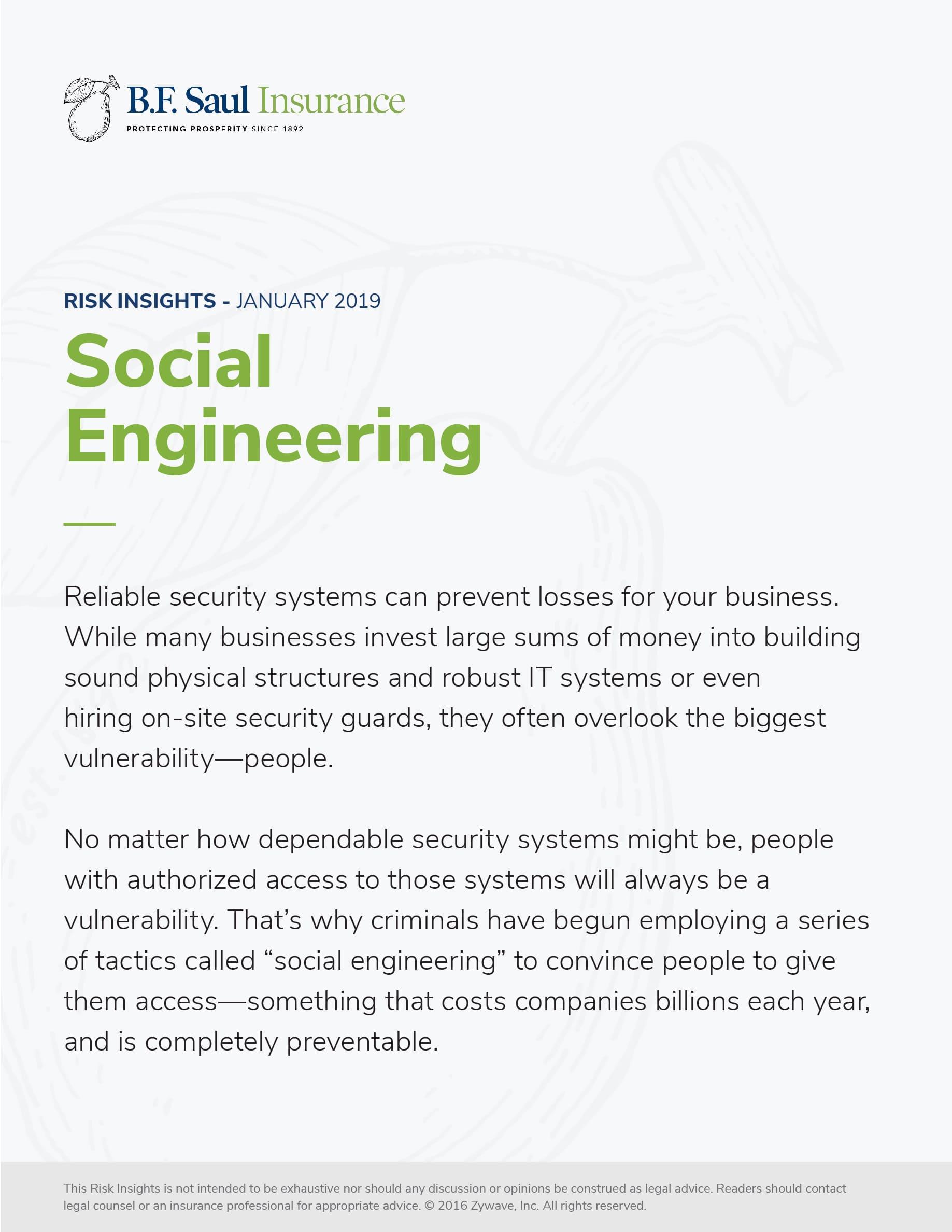 "B.F. Saul Insurance - Risk Insights ""Social Engineering"" Whitepaper"